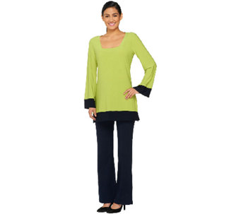 Women With Control Square Neck Tunic and Boot Cut Pants Set - A261826