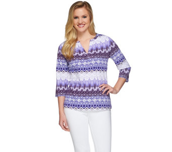 Denim & Co. Perfect Jersey Printed Split Neck 3/4 Sleeve Top - A263626