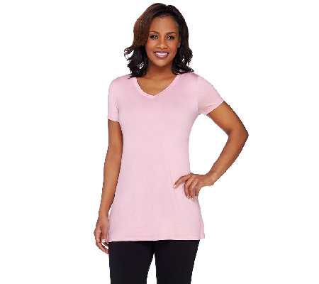LOGO Layers by Lori Goldstein V-neck Short Sleeve Knit Top