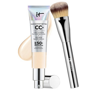 IT Cosmetics Full Coverage Physical SPF 50 CC Cream with Plush Brush - A264626