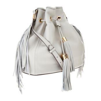 G.I.L.I. Pebble Leather Drawstring Bag with Fringe