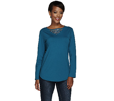 Susan Graver Artisan French Terry Top with Embellishment