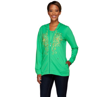 Quacker Factory Golden Embroidered Jacket and T-shirt Set