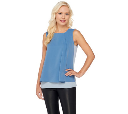 H by Halston Color-Block Layered Sleeveless Woven Top