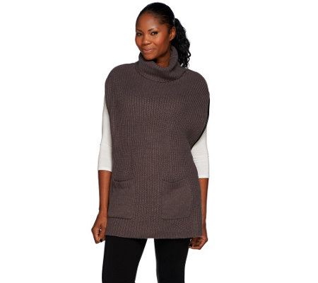 Dennis Basso Rib Stitch Sweater Poncho with Side Zippers