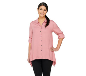 """As Is"" LOGO by Lori Goldstein Button Down Twill Top with Point Collar - A271026"