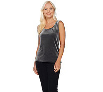 Bob Mackie's Scoop Neck Knit Velvet Tank with Side Slits - A271126