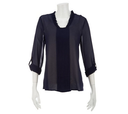 """As Is"" CE by Cristina Ehrlich Pleated Blouse with Ruffles"