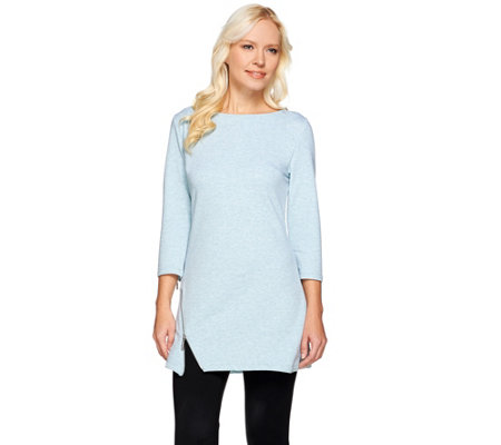 H by Halston French Terry 3/4 Sleeve Tunic with Side Zipper