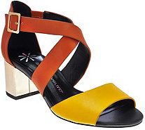 Isaac Mizrahi Live! Leather Sandals with Block Heel - A273926
