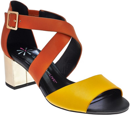 Isaac Mizrahi Live! Leather Sandals with Block Heel