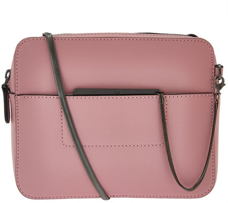 H by Halston Smooth Leather Crossbody Bag with Double Zippers