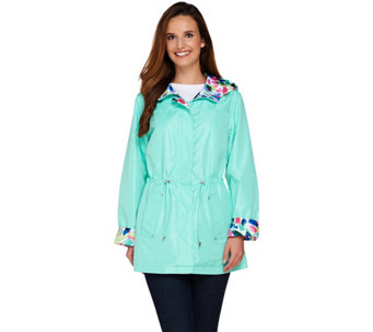 Susan Graver Reversible Printed Anorak Jacket with Hood - A274426