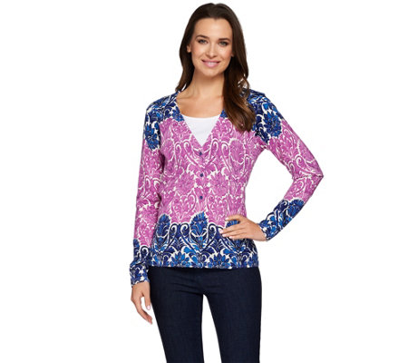 Isaac Mizrahi Live! Engineered Damask Printed Cardigan