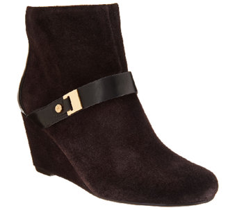 """As Is"" Isaac Mizrahi Live! Suede Wedge Ankle Boots w/ Strap Detail - A275626"