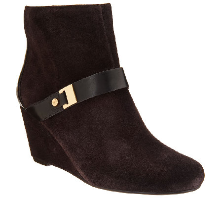"""As Is"" Isaac Mizrahi Live! Suede Wedge Ankle Boots w/ Strap Detail"