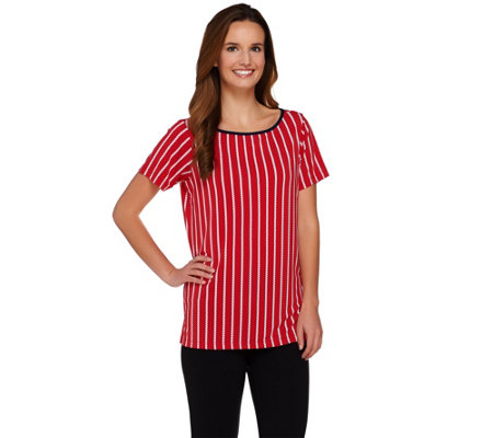 Susan Graver Striped Liquid Knit Short Sleeve Top