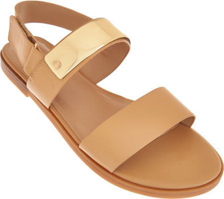 H by Halston Slingback Leather Flat Sandals - Haily