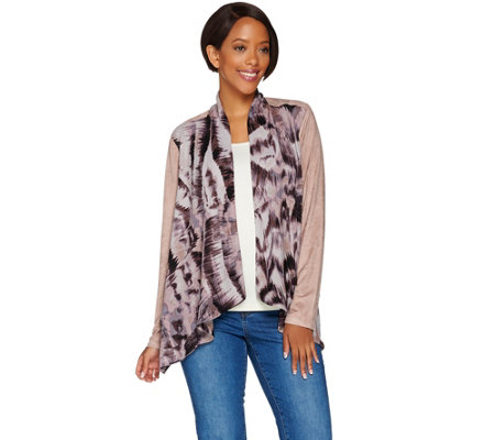 LOGO by Lori Goldstein Printed Jacket with Faux Suede Sleeves