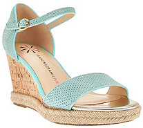 Isaac Mizrahi Live! Cork Wedge Suede Sandals - A277026