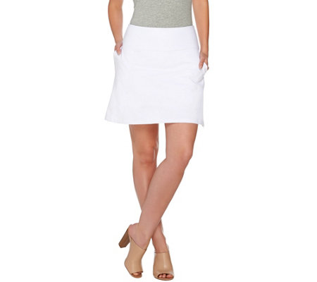 Women with Control Petite Tummy Control Side Zip Knit Skort