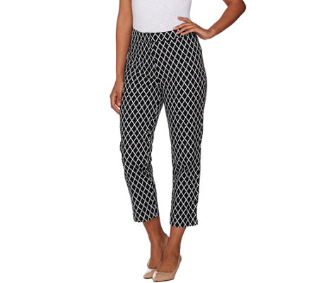 Dennis Basso Printed Cotton Sateen Crop Pants