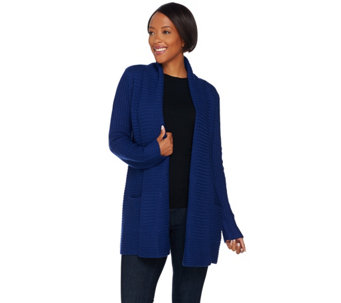 C. Wonder Shawl Collar Open Front Cardigan with Pockets - A279726