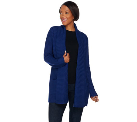 C. Wonder Shawl Collar Open Front Cardigan with Pockets