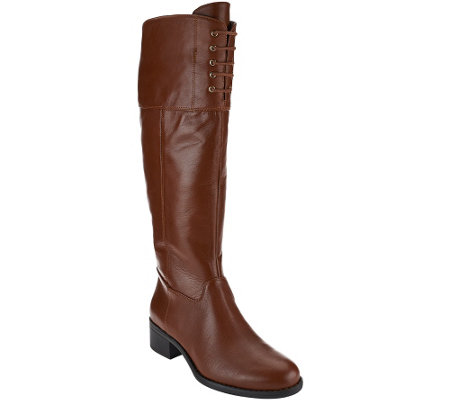 """As Is"" Isaac Mizrahi Live! Wide Calf Leather Riding Boots w/Lace"