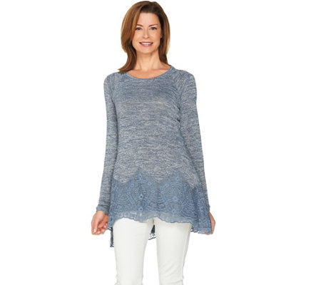 LOGO by Lori Goldstein Space Dye Knit Top with Embroidered Hem