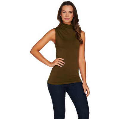 skinnytees Turtle Neck Seamless Layering Tank Top