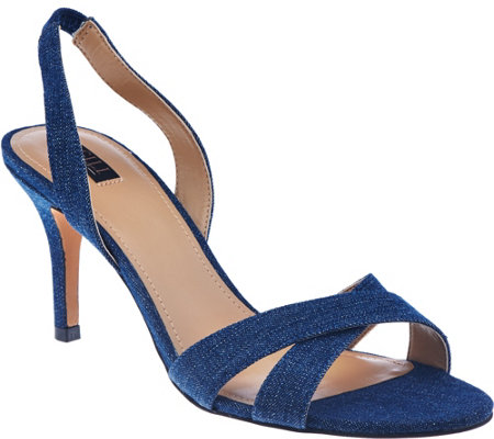 """As Is"" G.I.L.I Cross-band Sling Back Mid-Heel Pumps - Loren"