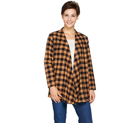 Joan Rivers Draped Front Buffalo Check Cardigan
