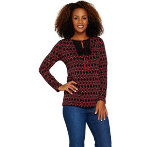 Susan Graver Printed Liquid Knit Long Sleeve Top with Tassels - A285426