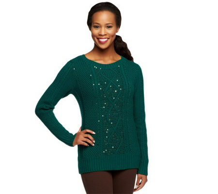 """As Is"" Kelly by Clinton Kelly Cable Sweater w/ Sequin Detail"