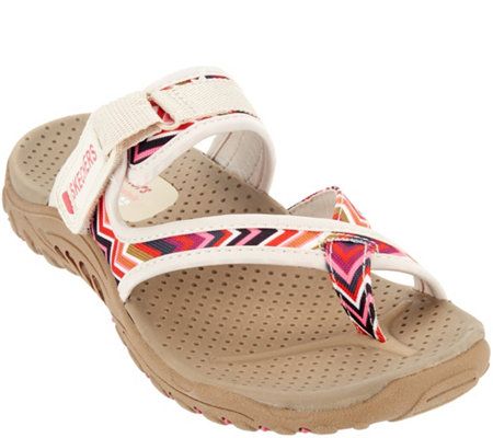"""As Is"" Skechers Thong Sandals with Adj. Strap - Zig Swag"