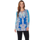 Susan Graver Printed Liquid Knit Tunic with Keyhole
