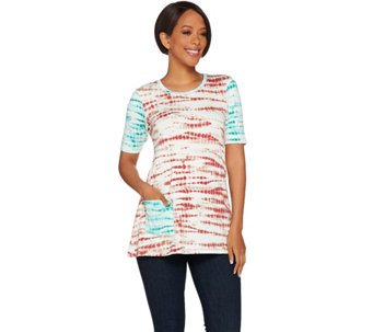 """As Is"" LOGO Lounge by Lori Goldstein Terry Top PrintFrench Contrast Sleeve - A286926"