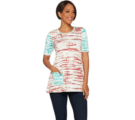 """As Is"" LOGO Lounge by Lori Goldstein Terry Top PrintFrench Contrast Sleeve"