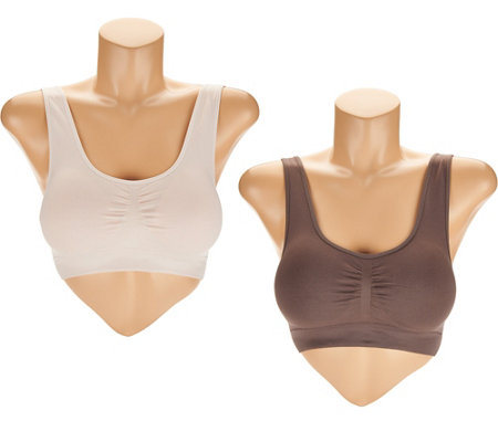 AnyBody Seamless Lounge Bra with Removable Pads Set of Two