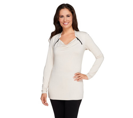 """As Is"" SA by Seth Aaron Knit Top with Zipper Shoulder Detail"
