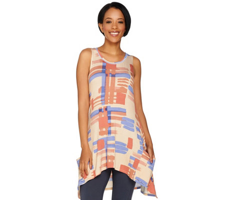 LOGO by Lori Goldstein Printed Knit Tank with Pockets