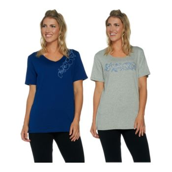 Quacker Factory Set of 2 Floral Vines Short Sleeve T-shirts