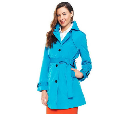 """As is"" Joan Rivers All About Color Water Resistant Trench Coat"