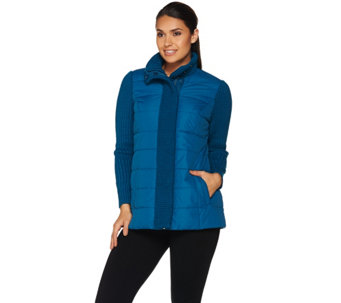 """As Is"" Dennis Basso Quilted Jacket with Sweater Knit Trim - A291326"