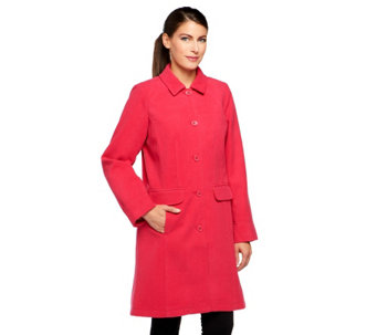 """As Is"" Isaac Mizrahi Live! Coat with Floral Printed Lining - A291526"