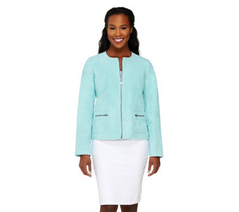 """As Is"" Dennis Basso Washable Suede Zip Front Jacket with Pockets - A291726"