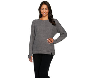 """As Is"" Cuddle Duds Fleecewear Stretch Lounge Long Sleeve Pullover Top - A292226"