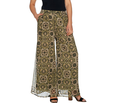 Du Jour Regular Printed Wide Leg Pants with Pockets