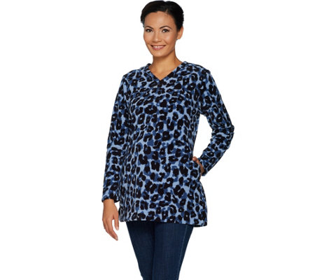 Denim & Co. Regular Animal Print Fleece Tunic w/ Pockets